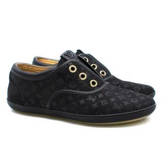 Louis Vuitton Black Monogram Suede Sneakers