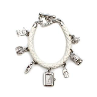 Burberry White Watch and Charm Leather Bracelet