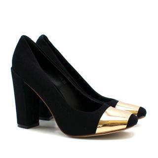 462458f21018 Louis Vuitton Black Gold Paneled Block Heels