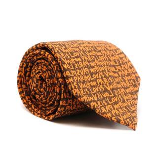 Louis Vuitton Orange Text Print Silk Tie