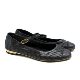 Chanel Black Leather Lattice Flats