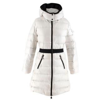 Moncler Girls White Down Quilted Long Jacket