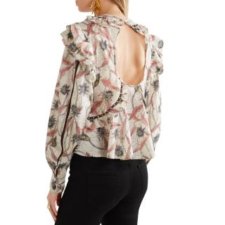 Isabel Marant Studded Lace-Trim Printed Uster Blouse