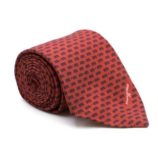 Vinuchi Red Printed Silk BlendTie