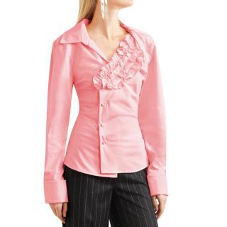 Jacquemus Baby Pink Ruffled Asymmetric Seville Shirt