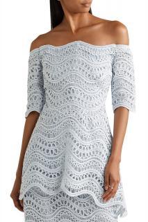 Lela Rose Off-the-shoulder guipure lace peplum top