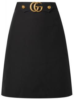Gucci GG Buckle High Waisted Cady Crepe Skirt