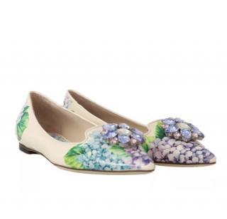 Dolce & Gabbana Hydrangea print crystal shoes flats