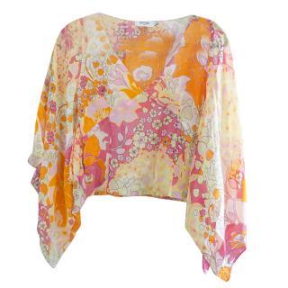 Moschino Silk Floral Multicolored V-Neck Kimono Top