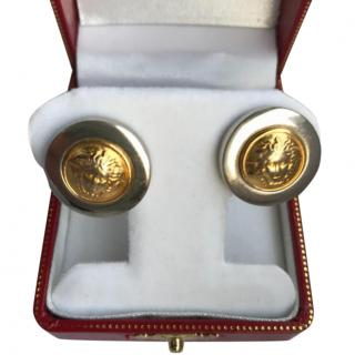 Gianni Versace St. Steel & Gold Medusa Earrings