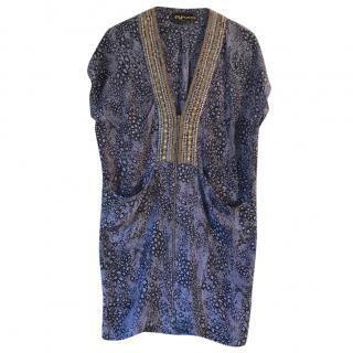 Pyrus Printed Silk Studded Dress