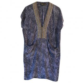 Pyrus Printed Silk Studded Dress
