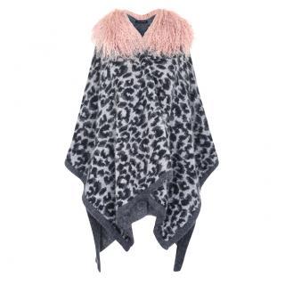 Hayley Menzies Elgin Leopard Shearling Poncho