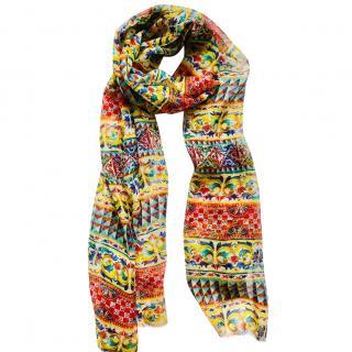 Dolce & Gabbana Silk Sicily Caretto scarf wrap