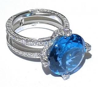 Bespoke 4ct Diamond & Blue Topaz Cocktail Ring 18ct Gold