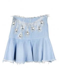 Fyodor Golan Distressed Denim Crystal Embellished Skirt