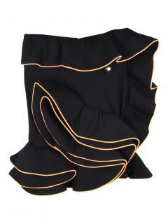 Fyodor Golan black ruffle trim fleece skirt