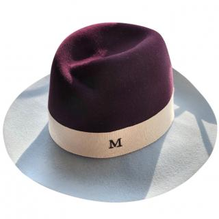 Maison Michel Burgundy & Baby Blue Hat