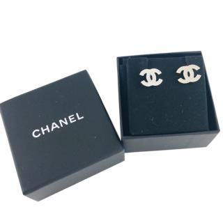 Chanel Silver Crystal CC Earrings