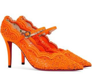Gucci Orange Virginia 95 lace pumps