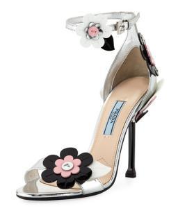 Prada Flower-Appliqu�d Leather Sandals