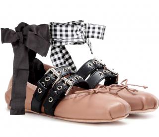 Miu Miu Belted Leather Ankle-Wrap Ballerina Flats
