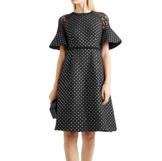 Draper James by Reese Witherspoon Polka Dot Lace-Trim Shadow Dress