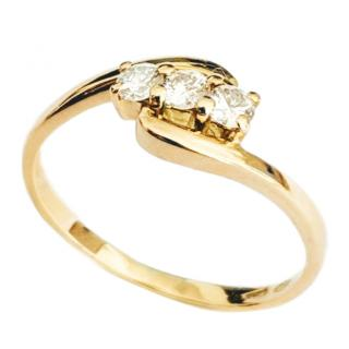 Pure Diamonds Diamond Twist Trilogy Yellow Gold Ring