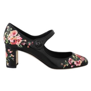 Dolce & Gabbana Black Floral Print Mary Jane Pumps