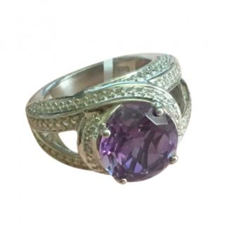 Lavender Alexite Round 4.25 CT Platinum Diamond Ring
