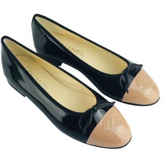 Chanel Two-Tone Patent Cap-Toe Ballet Flats