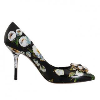 Dolce & Gabbana Black & White Floral Print Pumps
