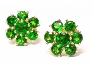 Bespoke Russian Diopside Cluster Earrings 1.70ct Yellow Gold