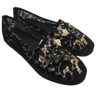 Dolce & Gabbana black lace embellished espadrilles