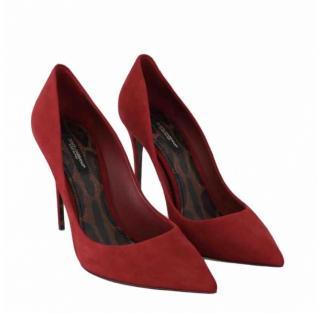 Dolce & Gabbana red suede pumps
