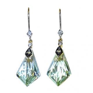 Bespoke Faceted Quartz & Diamond Drop Earrings