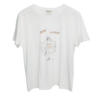 Saint Laurent Printed White Classic T-shirt