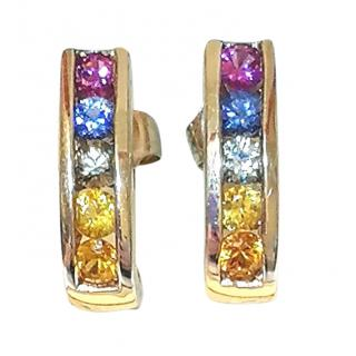 Bespoke Multi-coloured Sapphire Yellow Gold Earrngs