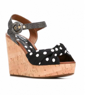 Dolce & Gabbana Tropico Polka Dot Wedge Sandals