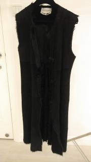 YVES SAINT LAURENT LONG Black Goat Fur SUEDE SLEEVELESS Coat GILET SZ38