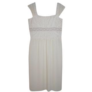 Valentino Boutique Cream Lace Paneled Dress