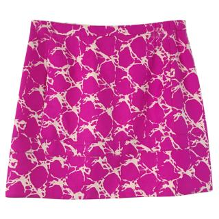 Balenciaga Silk fuschia printed mini skirt