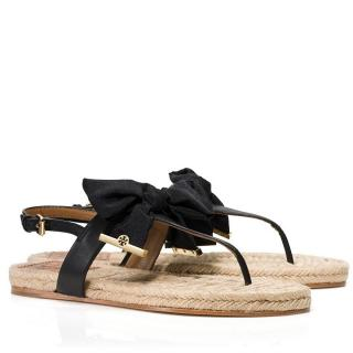 Tory Burch Penny Flat Espadrille Sandals in Black