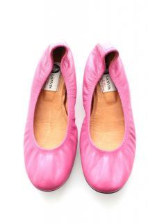 Lanvin Pink Elastic Ballerina Flats