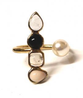 Gripoix Paris Geometric Ring Pearl & Glass