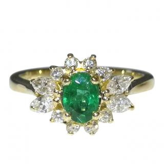 Bespoke Emerald & Diamond Cluster Ring 18ct Gold