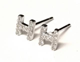 Bespoke Diamond H letter studs