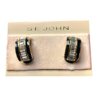 St John vintage crystal clip-on earrings
