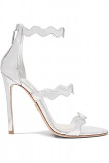 Prada 115 Scalloped Metallic Leather Sandals
