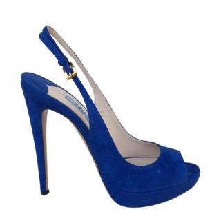Prada Blue Suede Slingback Sandals